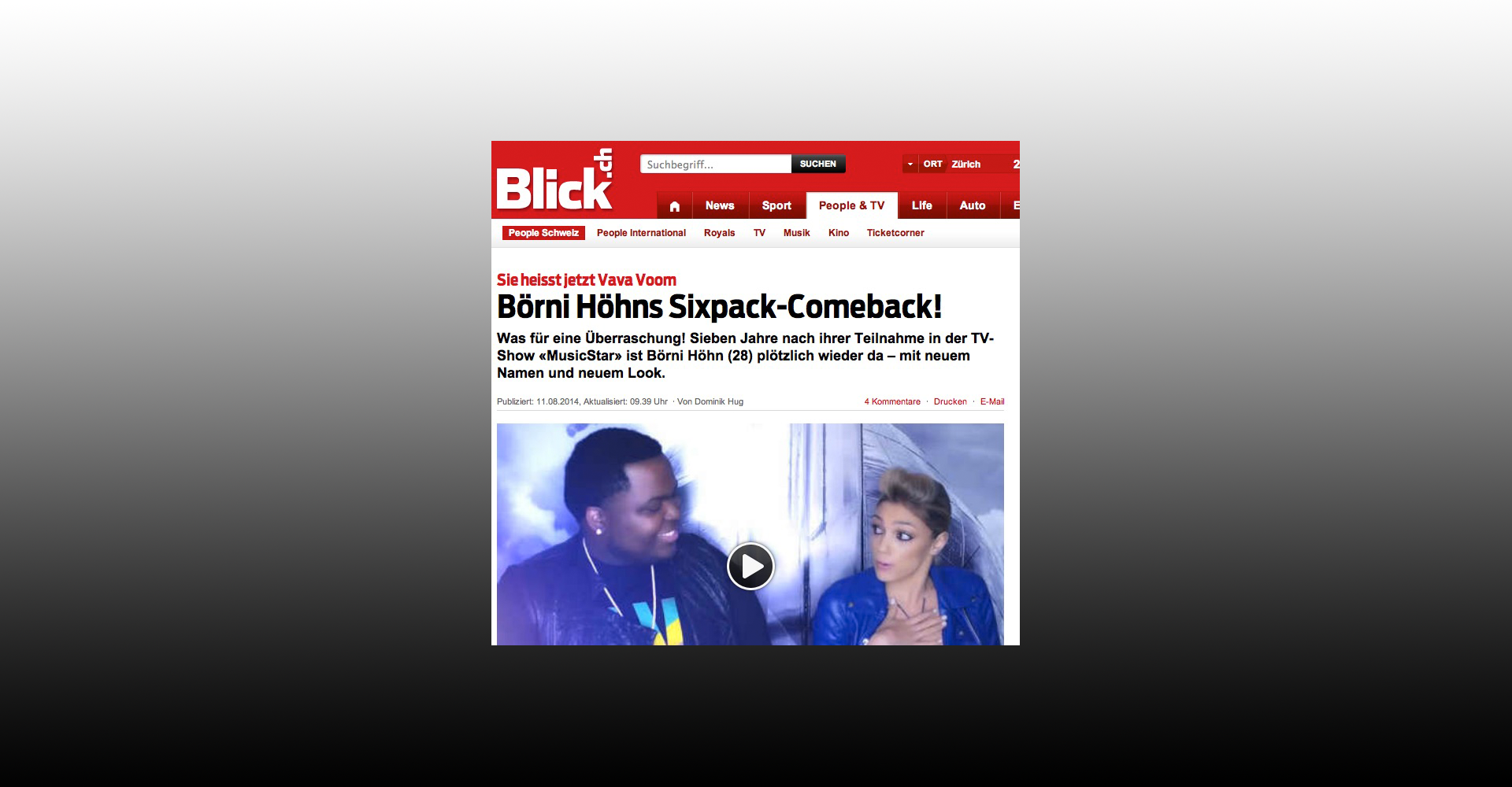 Blick largest selling Newspaper about Börni and her Comeback